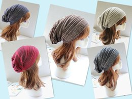 Wholesale ladies acrylic rings - Ladies Knitted Slouchy Beanie Oversized Thick Cap Hat Cotton Hip Hop Ring Warm Winter Autumn Unisex Slouch Color