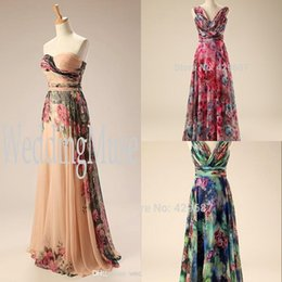 Wholesale Chiffon Evening Dresses For Women - Bouquet Dresses Party Evening Champagne turquoise peacock Floral Prom dresses under 100 Special Occasion Dresses for Women Real Image