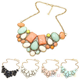 Wholesale Bubble Resin - Wholesale-Fashion Women's Resin Bubble Pendant Collar Chain Statement Necklace Multicolor 07J8