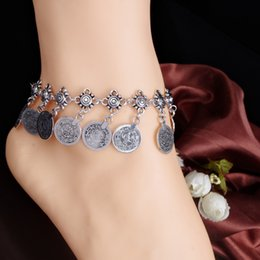 Wholesale Christmas Bracelets For Girls - Silver Color Bohemian Metal Tassel Anklet Luxury Charm Coin Ankle Bracelet For Women Jewelry Summer Style C006