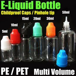 Wholesale Ego Needle Bottle Cap - e liquid Empty Needle Bottles PE PET childproof caps pinhole tip multi volume Plastic Needle Dropper eGo e cig cigs Electronic Cigarettes