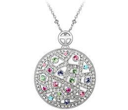 Wholesale Element Austrian Crystal - Big Round Necklace 18K Gold Plated Austrian Swarovski Elements Crystal Necklaces Pendants For Women Vintage Brand Jewelry 3546