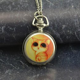 Wholesale Cute Pocket Watch Necklace - wholesale buyer low price good quality lady girl women silver mirror cute colorful yellow cat chain pocket watch necklace hour