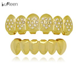 Wholesale tooth shaped jewelry - Lureen Gold Silver Teeth Grills Heart Shaped Bling Bling 6 Top and Bottom Teeth Set Caps Holloween Jewelry Gift