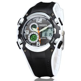 Wholesale Ohsen Digital Lcd - Hot sale ohsen digital quartz sport watches wristwatches children kid diving silicone band fashion white outdoor LCD hand clocks