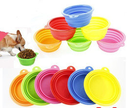 Wholesale Drinking Bowls For Dogs - 5pcs lot Free shipping Pet Products silicone Bowl folding portable cat bowls wholesale for food dog drinking water bowl