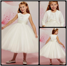 Wholesale Girls Cute Jacket Image - Beautiful 2016 White Tea Length Flower Girl Dresses For Weddings Cute Jewel Neck Ball Gown Beaded Kids Pageant Dresses Gown With Jacket