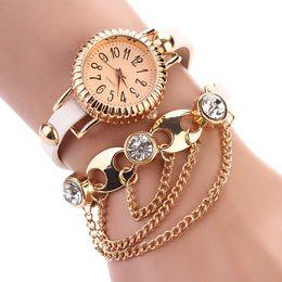 Wholesale Leather Faux Dress Wholesale - New Elegant Bohemia Rhinestone Chain Watches Faux Leather Strap Wristwatches Women's Bracelet Watch Dress Ornament watches XR620