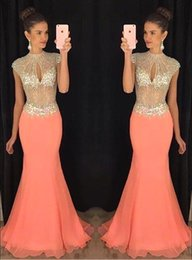 Wholesale Short Sleeve Mermaid Maxi Dress - 2016 African Mermaid Prom Dresses Coral High Beaded Collar Keyhole Bust Rhinestone Chiffon Illusion Bodice Maxi Formal Evening Gowns BA2012
