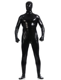 Wholesale Catsuit Green Metallic - Wholesale-Men's Shiny Full Hood Metallic One Piece Bodysuit Lycra Spandex Zentai Costume