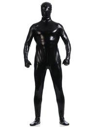 Wholesale One Piece Lycra Bodysuit - Wholesale-Men's Shiny Full Hood Metallic One Piece Bodysuit Lycra Spandex Zentai Costume