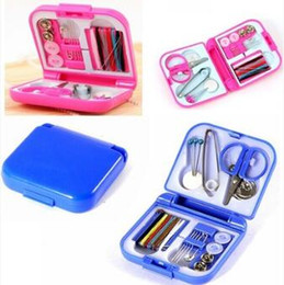 Wholesale Sewing Buttons Box - Portable Travel Sewing Set Kits Knitting Storage Box Needle Threads Scissor Thimble Buttons Pins Home Tools Sewing Accessory CCA7947 100pcs