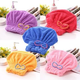 Wholesale Coral Cotton - Quickly Dry Towel Water Uptake Coral Velvet Bowknot Drys Hair Shower Cap For Home Bathroom Articles Multi Colors 3 6zy C R