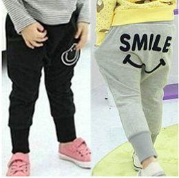 Wholesale Girls Smile Face - Kids pants children trouser spring autumn smiling face kids costume fashion girls boys harem pants baby clothes 5p l
