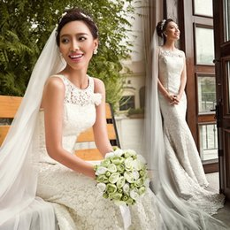 Wholesale Sexy Mermaid Tail Wedding Dresses - 2016 Fashion Hot New Bridal Lace Fishtail Slim Retro O-neck Wedding Dresses Princess Elegant Full Lace Mermaid Tail Plus Size Wedding Gown