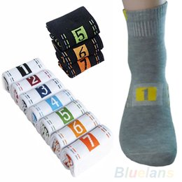Wholesale Mens White Cotton Crew Socks - Wholesale-7 Pairs Lot Week Casual Mens Fashion Dress Socks Men Cotton Ankle Socks Crew Sock For Gift 0R24