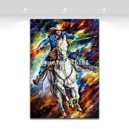 Wholesale Cool Canvas Paintings - Palette Knife Oil Painting Cool Cowboy Picture Printed on Canvas Mural Art Modern Home Hotel Office Wall Decoration