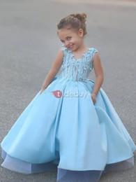 Wholesale Sky Blue Pageant Dress Child - 2016 Light Sky Blue Satin Hand Made Flower Flower Girl Dresses Vintage Child Pageant Dresses Beautiful Flower Girl Wedding Dresses F34