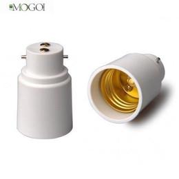 Wholesale E27 B22 Adaptor - Wholesale-Mogoi B22 to E27 Lamp Light Bulb Base Socket Converter Adaptor,White