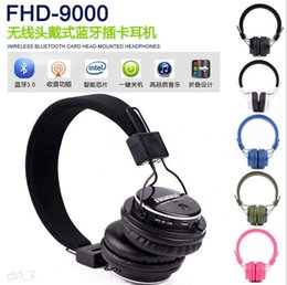 Wholesale Headband Stands - fineblue fhd9000 New headset Bluetooth headset stereo sound folding design super long stand by music player bluetooth headphone