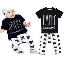 Wholesale Happy Leopard - Baby HAPPY batman 2pc set 2016 boy spring summer Letter T-Shirt+batman print Pants Outfits boys girl Clothing Sets