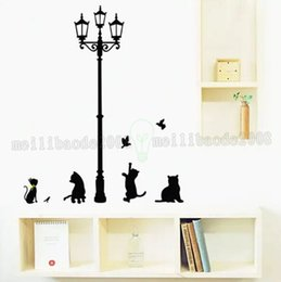 Wholesale Modern Nursery Pictures - Black Cat Under Street Lamp Home Stickers Cartoon Design Picture Art Peel & Stick Pvc Wall Stickers DIY Vinyl Wall Decal MYY
