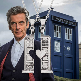 Wholesale House Tin - Hot Movie Doctor Who TARDIS Phone Booth Pendant Necklace Unisex Vintage Doc. Who Heart Lovers House Necklaces & Pendants