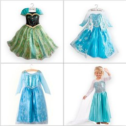 Wholesale Girl S Dresses Sequin - 1pc Retail Children Girl Princess Dress Elsa Anna Summer longsleeve diamond dress Costume, many designs in stock free shipping