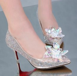 Wholesale Silver Shiny Heels - 2016 New brand High heels 8CM Wedding Shoes shiny crystal shoes pointed Women shoes rhinestone Bridal shoes big size :US4-US10 NSHX 92