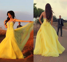 Wholesale Yellow Chiffon Crystals - 2017 New Yellow African Traditional Prom Dresses Sweetheart Beaded Crystals Chiffon Mermaid Drapes Bow Bakcless Evening Gowns BO8940