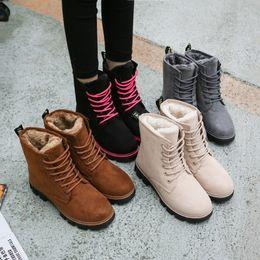 Wholesale Resistance Shoes - 2018 NEW Winter Snow Boots Low Heels Lace Short Boots With Plush Women Slip Resistance Winter Shoes Warm