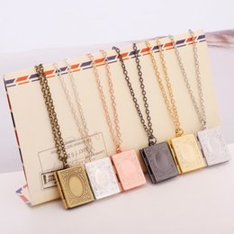 Wholesale Vintage Book Charms - Vintage Style Delicate Imitation Book Locket Necklace Secret Hiding Place Photo Locket Librarian Necklace Jewelry Photos Box