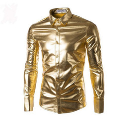 Wholesale Stylish Party Shirts - 4 Colors 2016 Night Club Wear Men's Elastic Shirts Slim Fit Fashion Stylish Shiny Shirt Mens Shirts Long Sleeve Men's Party Shirt