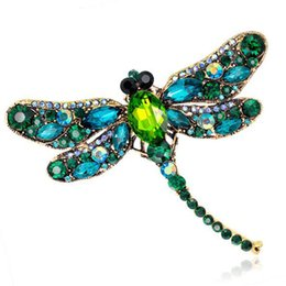 Wholesale Wholesale Scarf Dress - Vintage Design Shinny 6 Colors Crystal Rhinestone Dragonfly Brooches for Women Dress Scarf Brooch Pins Jewelry Accessories Gift