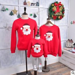 Wholesale Family Sweatshirts - Family Matching Outfits Christmas Clothing Mother and Daughter Thick Sweatshirt Tops Family Clothes Santa Claus Christmas Tree Sweatshirts