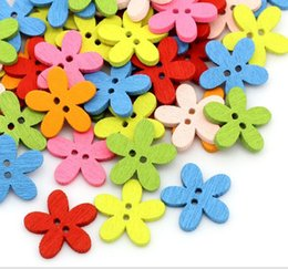 2017 trous de bois Fashion 200pcs Wood Sewing Buttons Scrapbooking Colorful Flower 2 trous Mixed 14x15mm 4Z720 trous de bois à vendre