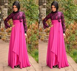 Wholesale Custom Silk Robes - Muslims Aso Ebi Style Evening Gowns High Neck Long Sleeve A Line Nigerian Women Evening Dress Flowers Pleats Lace Chiffon Robe De Soiree
