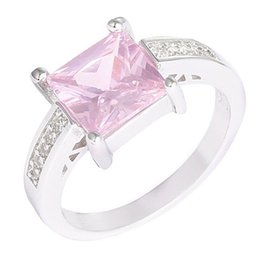 Wholesale Pink Sterling Silver Ring - Hot! 1Pc 925 Sterling Silver Pink Square Cubic Zirconia CZ Shiny Finger Ring US 7 8 9