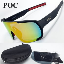 Wholesale Sun Logos - POC 2017 NEW 3 Lenses UV400 Sunglasses Metal Logo Top Sun Glasses for Ciclismo