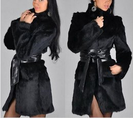 Wholesale Fur Coat Leather Belt - Fur Coat Female Fashion New Womens Fashion Winter Leather Grass Synthetic Rabbit Faux Fur Thick Jacket Outerwear new arrive free ship
