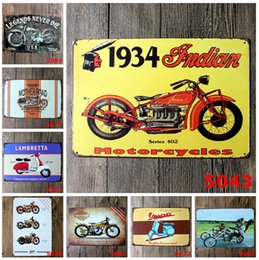 Wholesale Vintage Tin Motorcycle - lastest 20*30cm vintage retro classic motorcycles poster Tin Sign Coffee Shop Bar Restaurant Wall Art decoration Bar Metal Paintings
