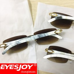 Wholesale Natural Squares - natural buffalo horn sunglasses mens designer luxury gold glasses for women white black buffalo horn sunglasses