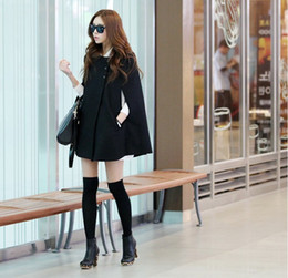 Wholesale Womens Poncho Capes - Womens Black Batwing Cape Wool Poncho Jacket Winter Warm Cloak Coat Fashion
