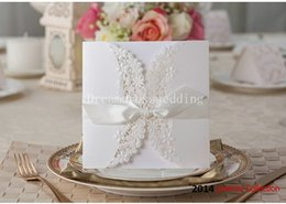 Wholesale Sale Wedding Invitation Card - 2015 Hot Sale Handmade Wedding Formal Invitation Card with Bow Free and Fast Shipping Creative Dinner Invitation Cards New Arrival