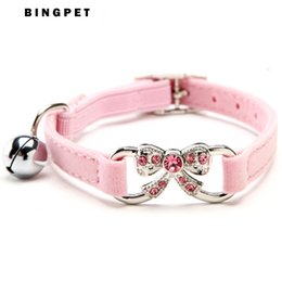 Wholesale Safety Pet Collar - Free Shipping New Pet Accessories Products for Cat Crystal Butterfly Cat Collar with Safety Elastic Belt 4 Colors