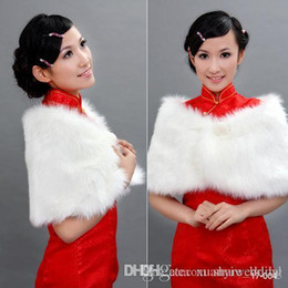Wholesale Faux Fur Stole Ivory - New Arrival White Pearl Wrap Shawl Coat Jackets Boleros Shrugs Regular Faux Fur Stole Capes Wedding Special Occasion Shawl