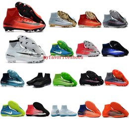 Wholesale Boys Shoes Boots - 2018 mens soccer cleats Mercurial Superfly V Ronalro FG indoor soccer shoes kids football boots cr7 boys neymar boots Rising Fast Pack Blue