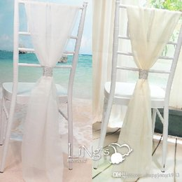 Wholesale Diamond Chair Sash - White and Champagne Chair Sash with Rows Diamond Chiffon Delicate Wedding Party Banquet Decorations Chair Covers Accessories