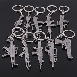 Wholesale Key Chain Order - Hot sale Mixed order Fashion Alloy Gun black simulation gun Key Chains Key Ring Chains Gift 50pcs lot