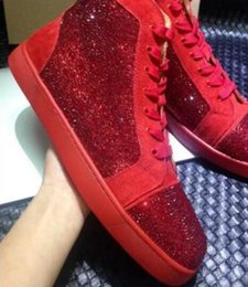 Wholesale Colorful Sneakers For Women - 100% Real Photos Colorful rhinestone Studded Red Bottom Casual Shoes for Men and Women,Luxury Brand Red Sole High Top Flats Shoes Sneakers